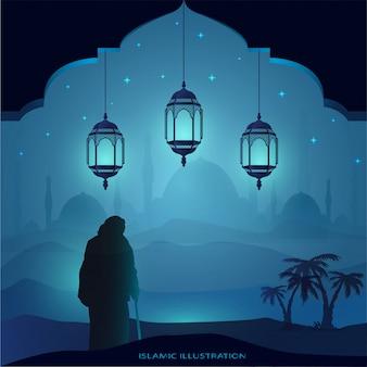Oude grootvader loopt 's nachts met behulp van een stok in de hand vergezeld van schittering van sterren, moskee, lantaarns voor illustratieve islamitische achtergrond