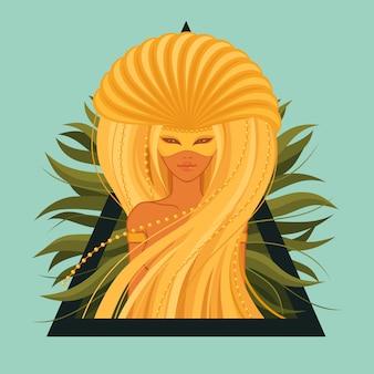 Oude heidense godin met gouden kroon