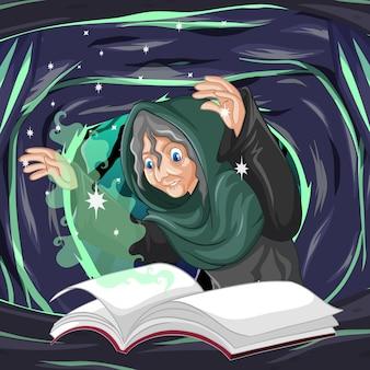 Oude heks met spreuk en boek cartoon stijl op donkere grot achtergrond