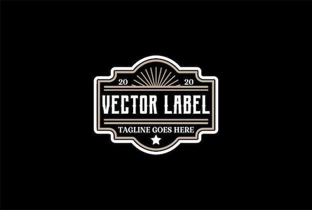 Oude hipster luxe vintage badge embleem label logo ontwerp vector