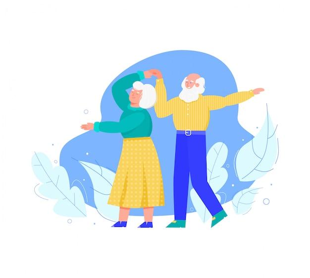 Oude hogere mensen die samen, geïsoleerde beeldverhaalillustratie dansen.