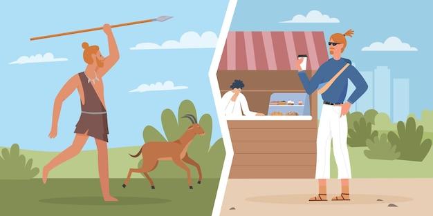 Oude holbewoner moderne mens leven evolutie vergelijking primitieve jager en jonge kerel