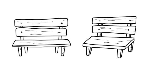 Oude houten bank in doodle stijl. hand getrokken vectorillustratie op witte achtergrond
