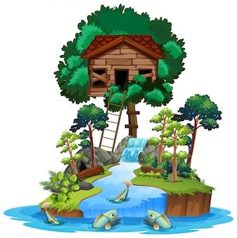 Oude houten boomhut op eiland