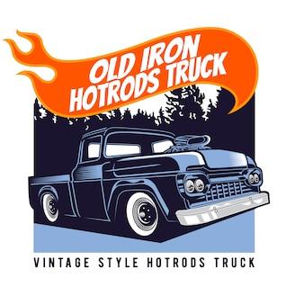 Oude ijzeren hotrods vrachtwagen
