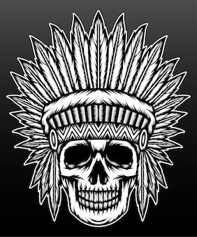 Oude inheemse amerikaanse schedel geïsoleerd op zwart