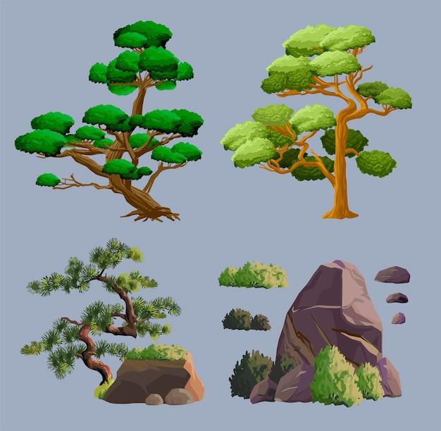 Oude japan cultuur objecten set met tuin decoratieve bomen, steen, struik en ikebana geïsoleerde vectorillustratie. japan vector set collectie.