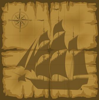 Oude kaart met afbeelding en kompas vectorillustratie