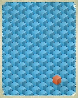 Oude kaart met kubussenpatroon