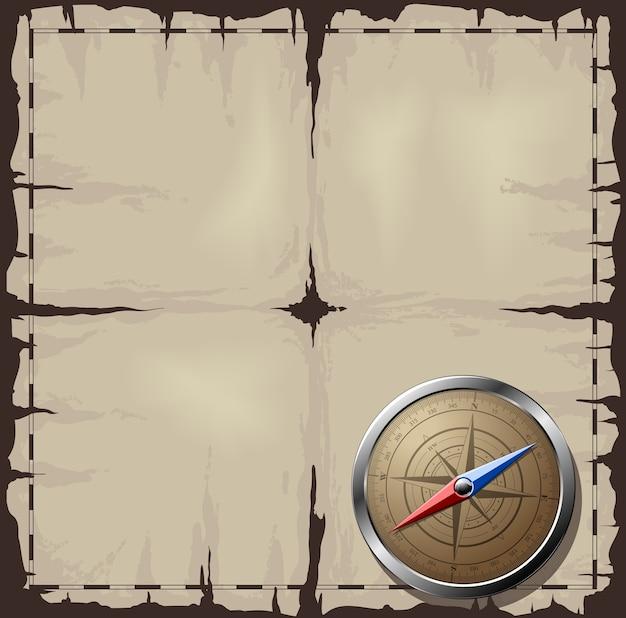 Oude kaart met stalen kompas