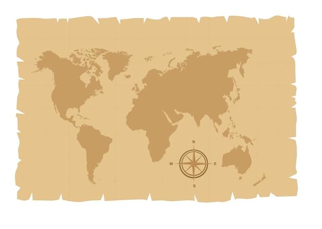 Oude kaart over oud papier met windroos vectorillustratie