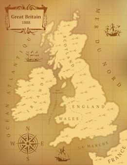 Oude kaart van groot-brittannië.