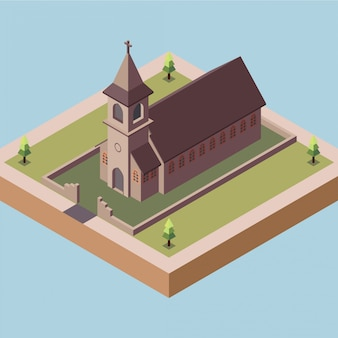 Oude kerk in een stad