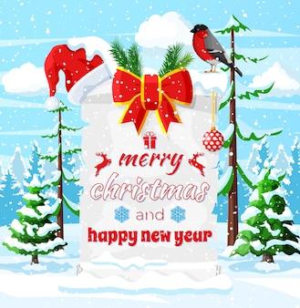 Oude kerstperkamentrol met rode kerstmanhoed en strik op winterlandschap. gelukkig nieuwjaar decoratie. vrolijk kerstfeest. nieuwjaar en kerstviering. vectorillustratie vlakke stijl