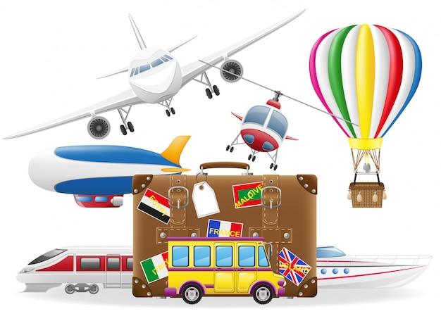 Oude koffer voor reis en vervoer voor reis vectorillustratie