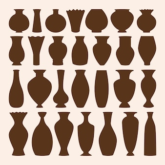 Oude kommen iconen collectie. vaas en amfora