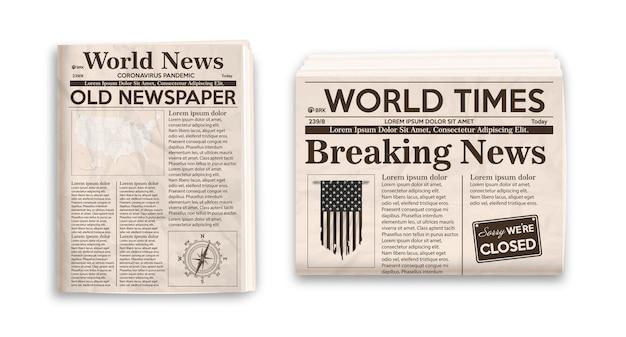 Oude krantenlay-out verticale en horizontale mockup van kranten