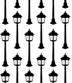 Oude lantaarn silhouet naadloze patroon vectorillustratie.