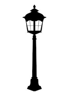 Oude lantaarn silhouet vectorillustratie