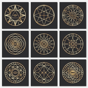 Oude maçonnieke pentagrammen. steampunk gouden heilige symbolen op donkere achtergronden