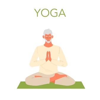 Oude man doet yoga. asana of oefening voor senioren. fysieke en mentale gezondheid. lichaamsontspanning en meditatie. gepensioneerde opleiding. geïsoleerde vlakke afbeelding