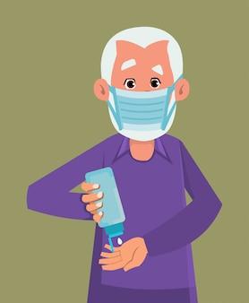 Oude man dragen masker en ontsmettende handen met ontsmettingsgel