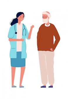 Oude man en dokter. gezondheidspreventie, medisch consult voor ouderen. gezondheidszorg, mannelijke en jonge verpleegstersillustratie