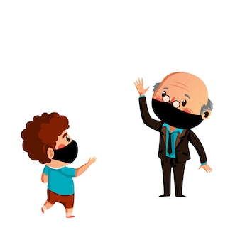 Oude man en kleinzoon dragen masker hebben fysieke afstand op nieuw normaal
