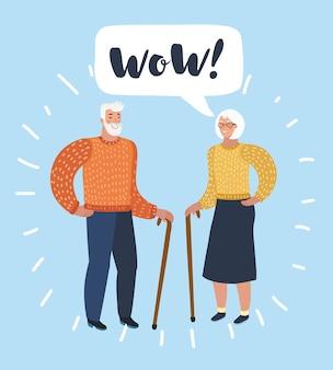 Oude man en oude vrouwen praten. praat over echtgenoot of vrienden. illustratie