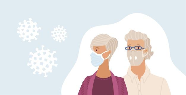 Oude man en vrouw die medische wegwerpmaskers dragen
