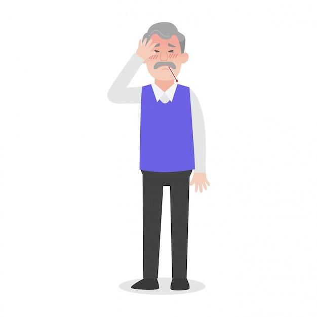 Oude man heeft hoofdpijn heatstroke medical heath care concept.