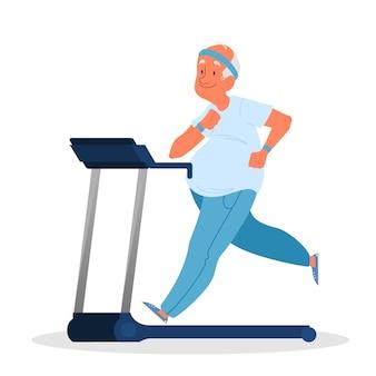 Oude man in de sportschool. senior training op loopband. fitnessprogramma voor ouderen. gezond levensstijlconcept.