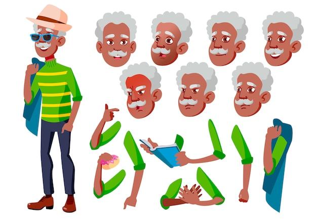 Oude man karakter. afrikaanse. creatie constructor voor animatie. gezichtsemoties, handen.