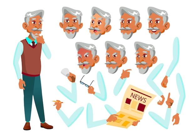 Oude man karakter. arab. creatie constructor voor animatie. gezichtsemoties, handen.