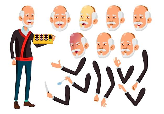 Oude man karakter. aziatische. creatie constructor voor animatie. gezichtsemoties, handen.
