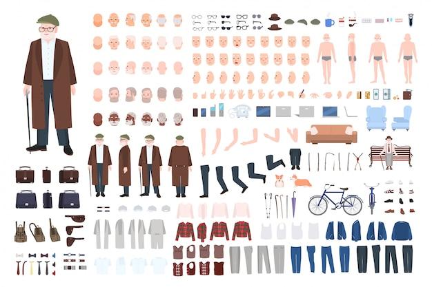 Oude man karakter constructor, creatie set. verschillende grootvaderhoudingen, kapsel, gezicht, benen, handen, kleding, accessoires. cartoon illustratie. voorkant, zijkant, achteraanzicht