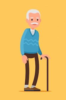 Oude man karakter. een oudere man met wandelstok.