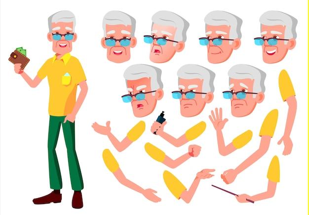 Oude man karakter. europese. creatie constructor voor animatie. gezichtsemoties, handen.