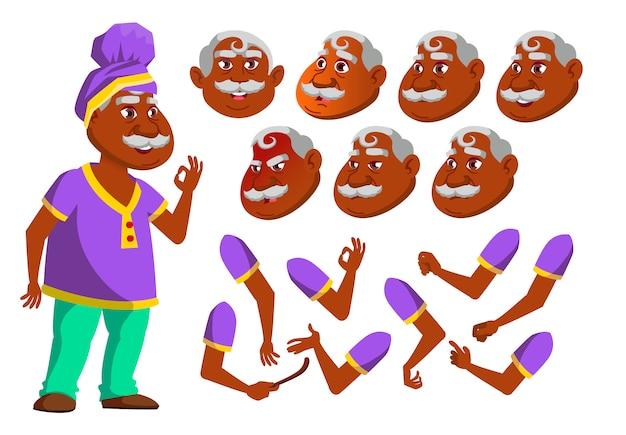 Oude man karakter. indian. creatie constructor voor animatie. gezichtsemoties, handen.