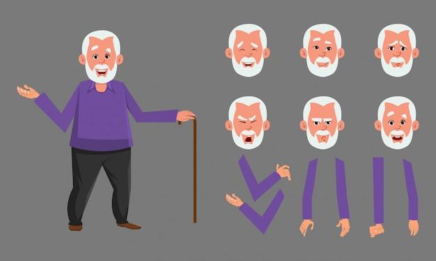 Oude man karakter ontwerpset voor animatie, motion design of iets anders.