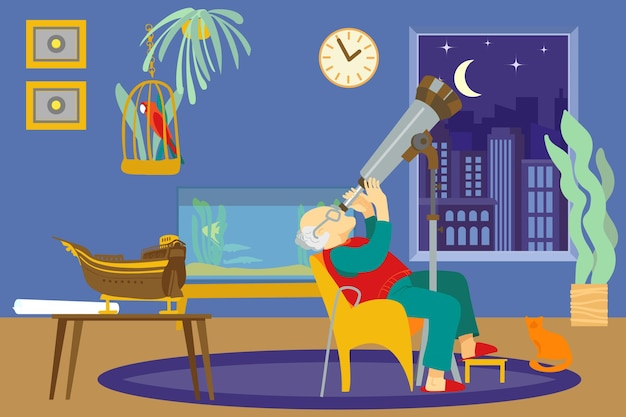Oude man karakter zittend comfortabele stoel kijken naar ruimtetelescoop mannelijke oldster hobby sky observat...