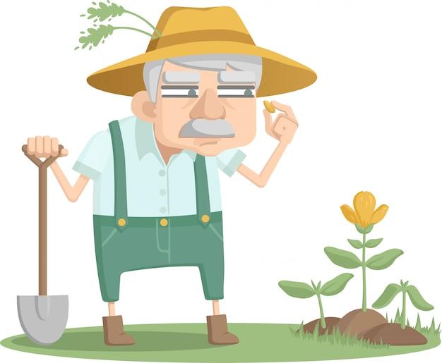 Oude man kijkt uit over zijn tuin