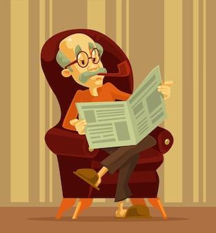 Oude man krant lezen. grootvader roken. tekenfilm