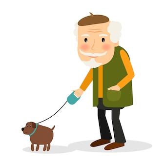 Oude man lopen met de hond