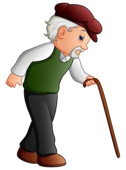 Oude man lopen met een stok