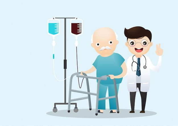 Oude man lopen met een wandelstok. medische zorg arts.