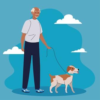 Oude man lopen met hond huisdier op blauwe achtergrond afbeelding