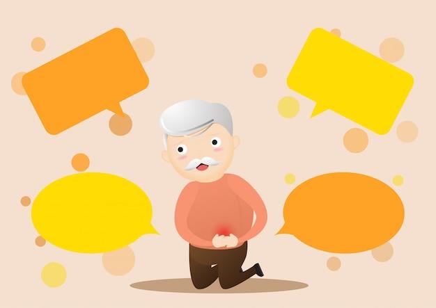 Oude man met buikpijn en bubble chats rondom