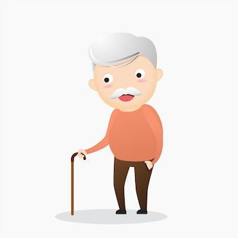 Oude man met een stok. een oudere man die lijdt aan rugpijn