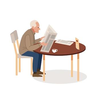 Oude man met krant en koffie